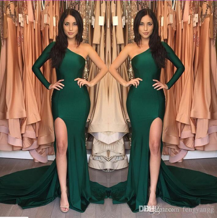 2019 Sexy V Neck Split Side One-Shoulder Evening Dresses With Long Sleeve Pageant Gowns Floor Length Girl Prom Party Dresses Custom Made