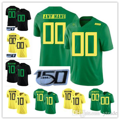 Personnalisé College Oregon Ducks 2019 New Football Tous Nom Numéro Vert Jaune 10 Justin Herbert 7 CJ Verdell Mariota NCAA Football Jersey 150E