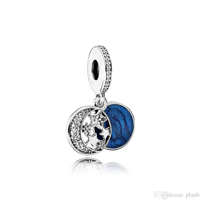 925 Ayar Gümüş Mavi Emaye Yıldız ve Ay Kolye Charms Orijinal Kutusu için Pandora Avrupa Boncuk Charms Bilezik Kolye Takı Yapımı