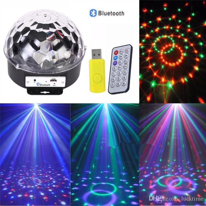 Hot Disco wireless bluetooth MP3 DJ Stage Lighting RGB Crystal Magic Ball MP3 USB Light DMX512 Digital LED Party light with remote