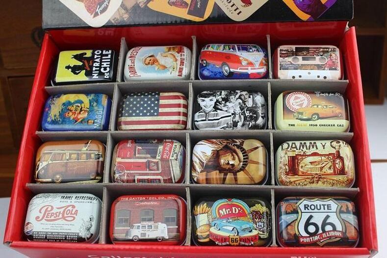 Zakka 저장 상자 복고풍 미니 보석 알약 사탕 주최자 호의 주석 상자 금속 사각형 Collectables 주석 상자