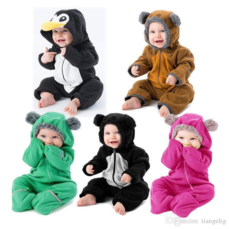 아기 만화 동물 후드 장난 꾸러기 5는 신생아 소년 소녀 양털 점프 슈트 긴 소매 코튼 봄 가을 겨울 옷 0-24M 04 디자인