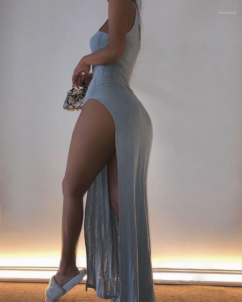 Dress Sexy Sleeveless Halter Bodycon Dress Fashion Solid Color Slim Split Long Dress 20ss Women Designer