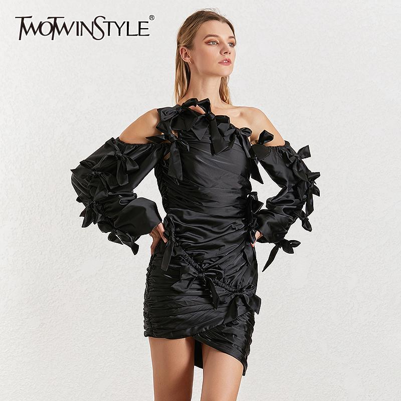 Vente en gros Sexy Bowknot Patchwork Dress Pour Femmes Irrégulier Col Lantern Manches Taille Haute Ruched Robes Femme 2019 Nouveau