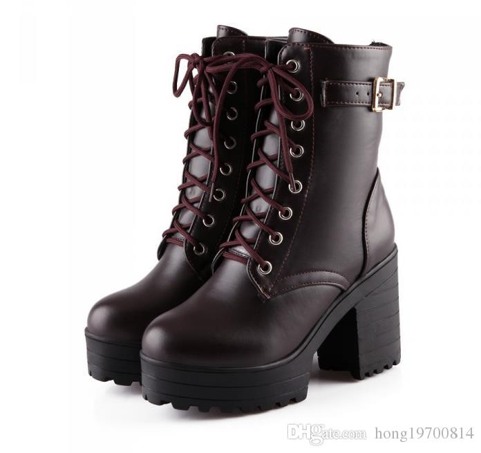 Womens High Thick Heel Platform Lace Up Manmade Leather Classical Shoes EU 34-40