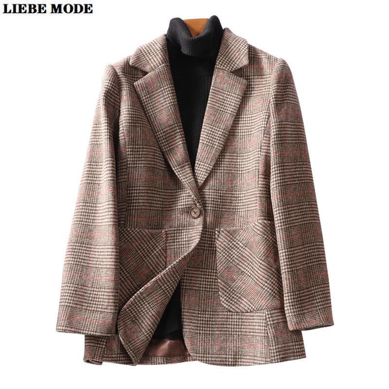 2020 Herbst-Winter-Cashmesh Revers lange Hülsen-Plaid-Taschen-Jacken-Mantel-Frauen Wollen Blazer Weibliche Weinlese losen Blazer Femme