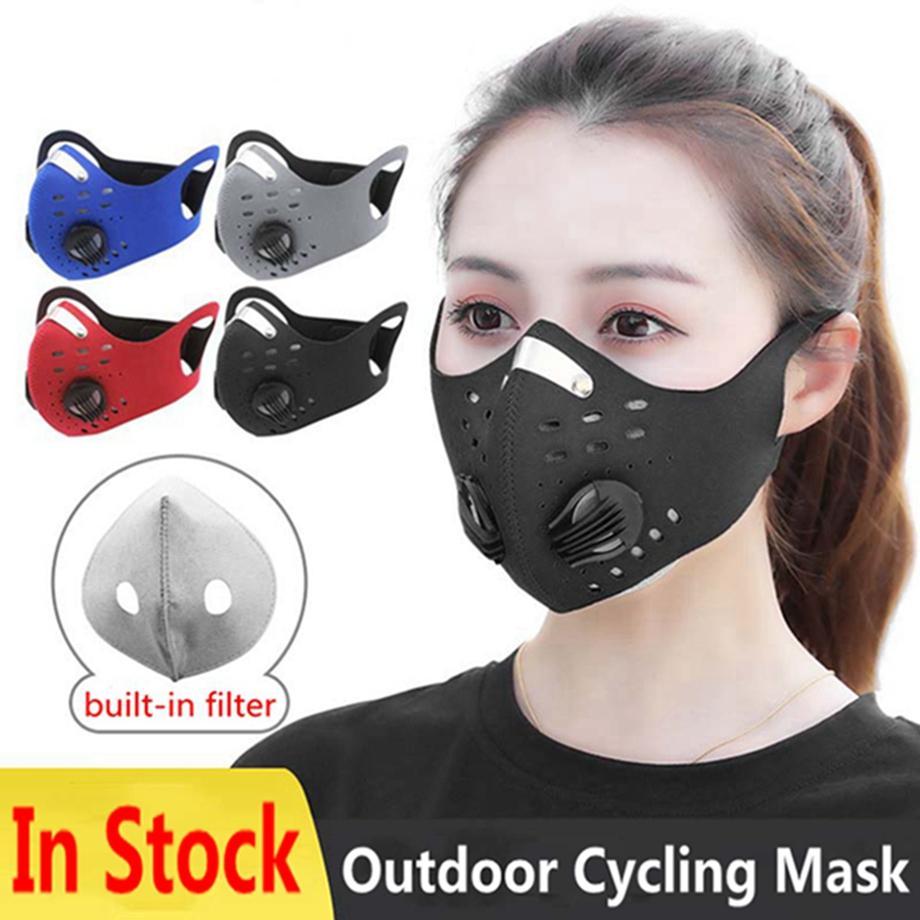 In bicicletta Maschera con filtro PM2.5 respirazione valvola Earloops antipolvere Haze a prova di Uomini e Donne Maschere esterna di protezione del lato HHA1244