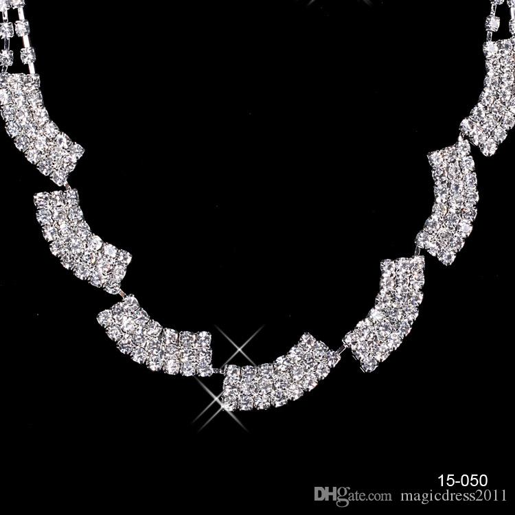 15050 New Jewelry Necklace Earring Set Cheap Wedding Bridal Prom Cocktail Evening Dresses Rhinestone In Stock Free Shipping 15050