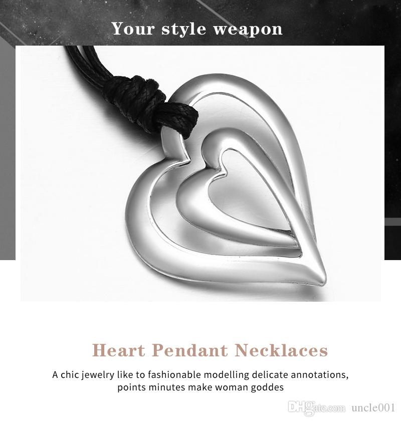 Donne catena di gioielleria di cuoio d'avanguardia 3 Stile cuore di amore di colore PU Collana lunga di disegno argento antico dell'annata di dichiarazione