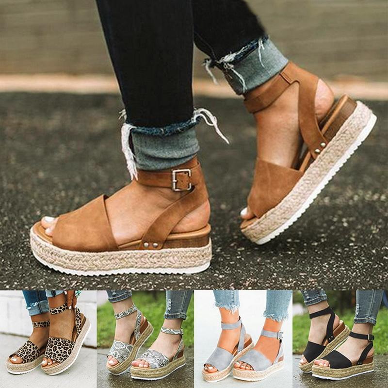 O transporte da gota Cunhas Sapatos Para Mulheres Sandals Plus Size Salto Alto Verão Sapatos Leopard Slides Chaussures Femme sandálias