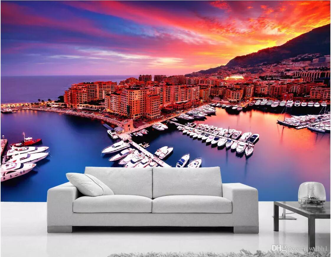 Fondo de pantalla personalizado Foto mural de Mónaco Bahía Europeo, Europeo y Americano Nórdico Moderno Paisaje Fondo Pared Imágenes de arte de pared