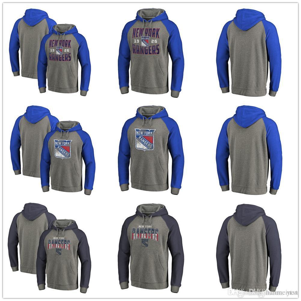 Men's Youth New York Rangers Heathered Gray Slant Strike Freedom Team Distressed Tri-Blend Raglan Pullover Hoodies Sweatshirts