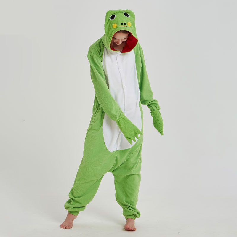 동물 키 글 루미 녹색 개구리 Onesie Cartoon Pyjama Polar Fleece 여성 남성 성인 파티 복장 Funny Cute Carnival 멋진 잠옷