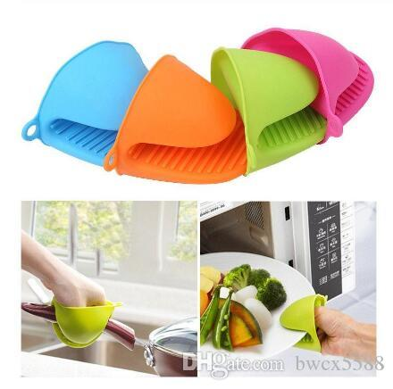 New Fashion Silicone Gloves Oven Heat Insulated Finger Gloves Cooking Microwave Non-slip Gripper Pot Holder 5 Colors Bakeware