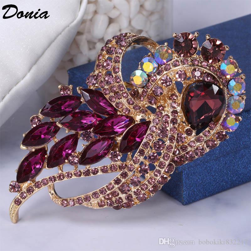 Donia Schmuck europäische und amerikanische populäre Brosche Pfau großes Glas Geburtstag Brosche Geschenk Brosche Mantel Schal Zubehör