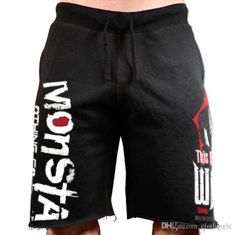 ткань Muscleguys лето Фитнес Спортзалы Шорты Powerhouse Мужчины тренировки пот Короткие штаны хлопок спортивной Человек случайно бодибилдинга шорты