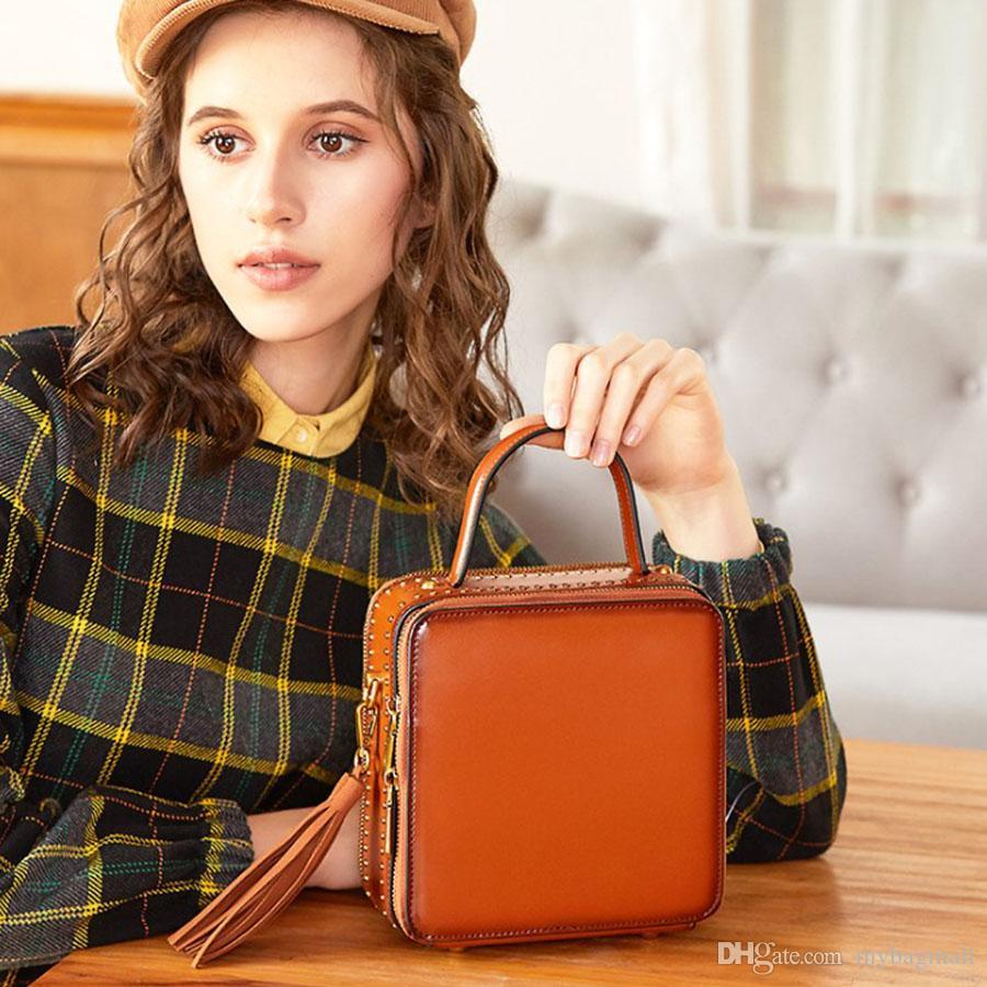 De alta calidad de 9 colores cuero auténtico de la moda del hombro bolso de la manija de la aleta para las mujeres de señora Girl