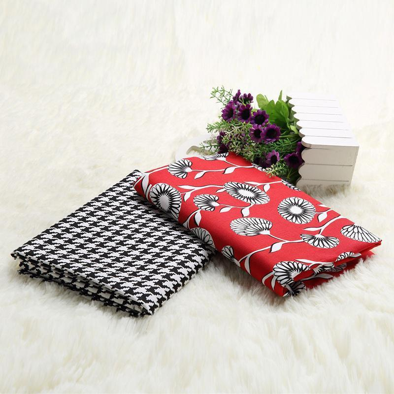 Sergé 2 pcs 50 * 150 cm Rouge pissenlit Imprimé Coton Tissu pour le bricolage Patchwork couture enfants literie sacs travail manuel poupée tissu Textiles