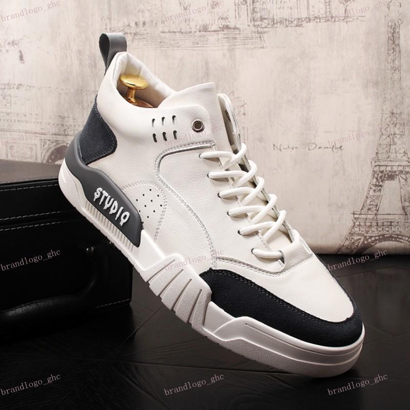 Chaussures pour hommes dans la partie supérieure des chaussures pour hommes Version coréenne de bottines blanches Chaussures de loisirs au quotidien Chaussures de hip hop, Chaussures de luxe pour hommes V14