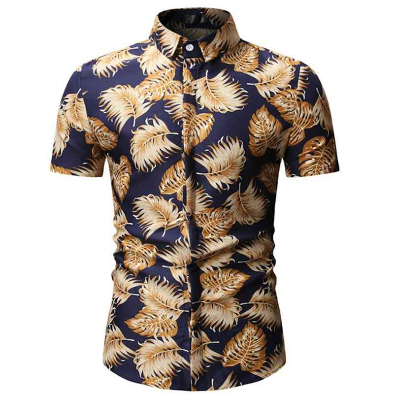 2020 Yaz Moda Yeni Erkekler Casual Butik Kısa Kollu İnce Çiçek Gömlek / Erkek Plaj Çiçek Tatil Gömlek yazdır