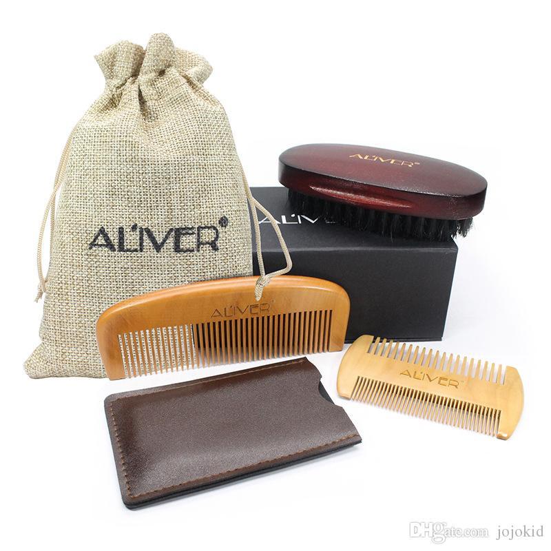 ALIVER 3pcs/set Fashion Men Beard Kit Styling Tool Beard Styling Care Bristle brush Peach comb gift sets B
