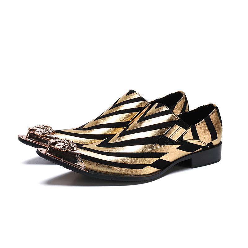 2019 Yellow metal moda de Nova Men Shoes Pointed Negócios Homens Escritório Partido Shoes Oxfords