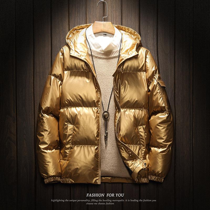 2019 de Mulheres e Homens de Down Jacket Inverno de prata brilhante / preto / ouro / azul Plus Size Parka com capuz Outwear baixo acolchoado Coats Feminino V191114