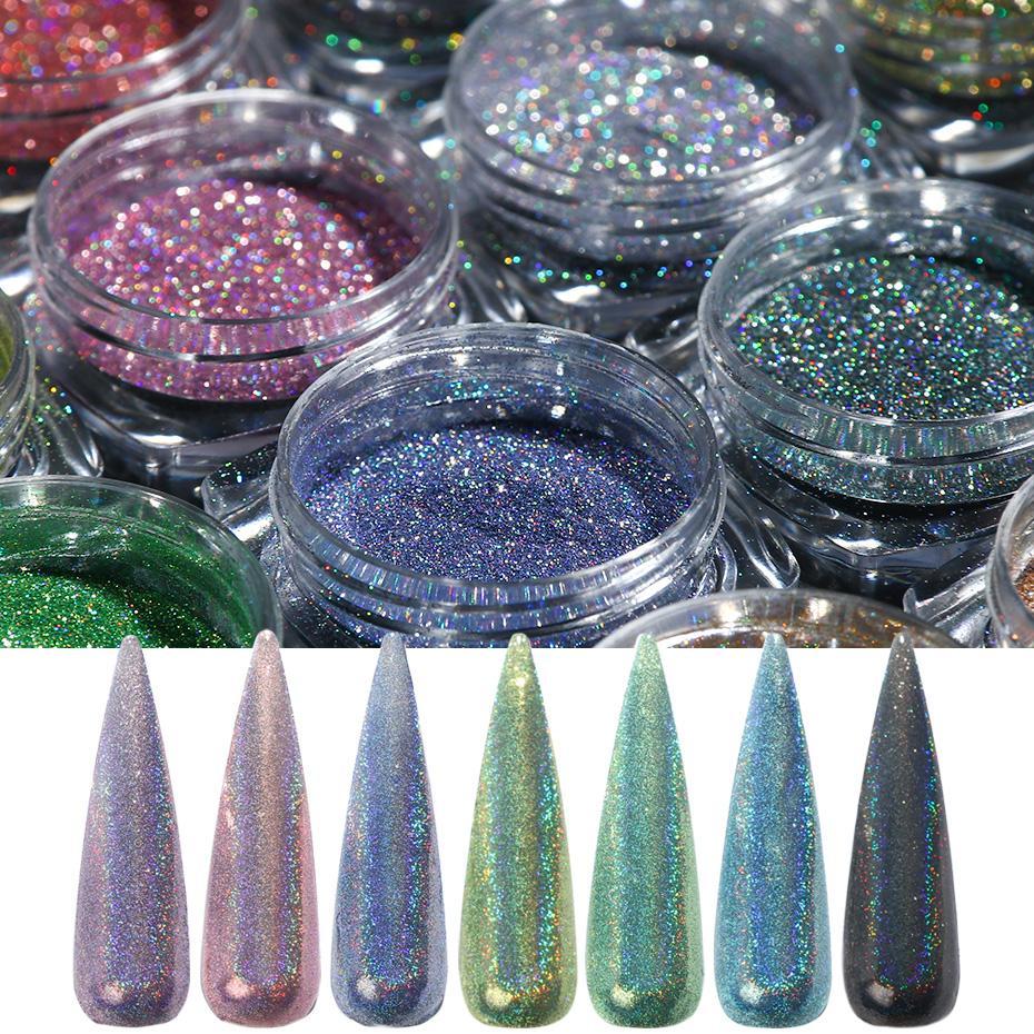 eauty Sağlığı 1g Tırnak Holografik Toz Glitter Pırıltılı Lazer Krom Nail Art Pigment Holo Glitter Toz Polonya Manikür süsleme ...