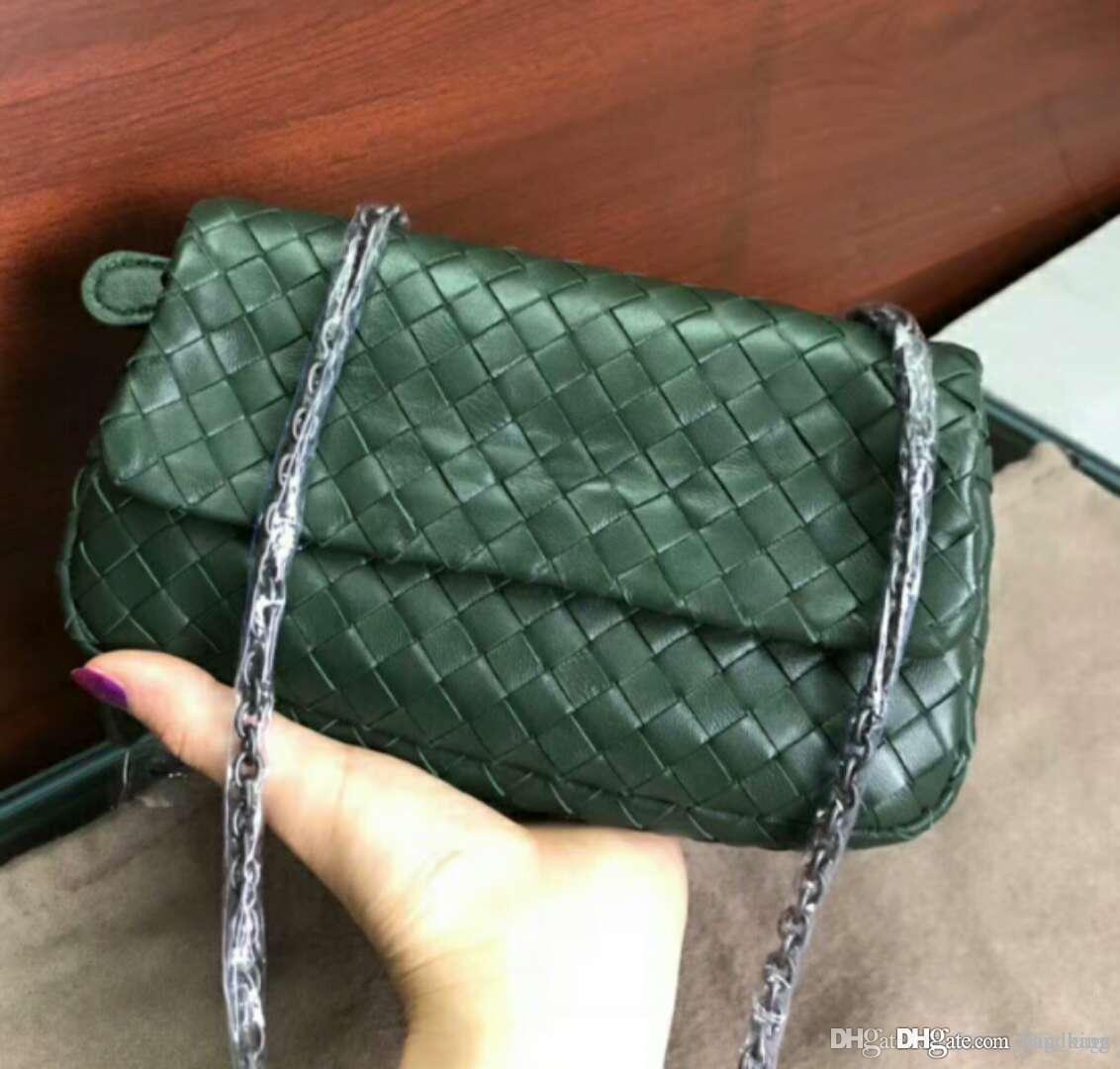 2019 kadın yeni 20cm kintting malzeme tığ çanta klasik hakiki koyun derisi deri el çantası kart sahibinin alt fermuar cebi el yapımı