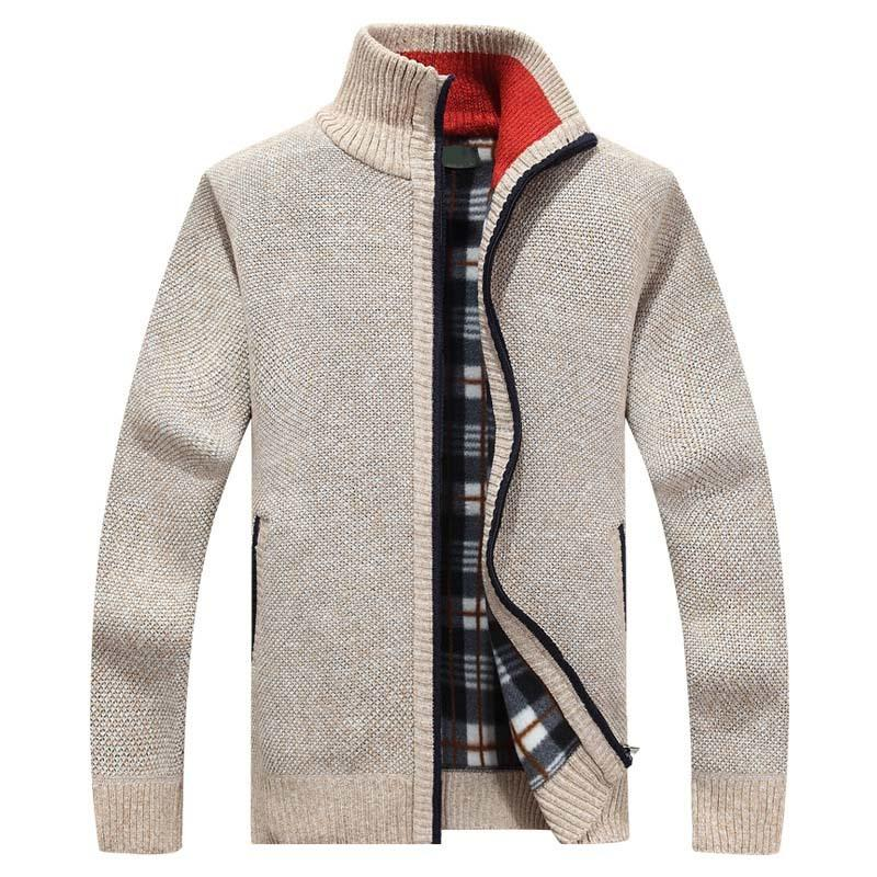 2020 New Men's Sweaters Autumn Winter Warm Cashmere Wool Zipper Cardigan Sweaters Man Casual Knitwear Sweatercoat male clothe T200402