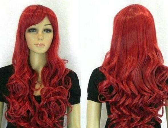Бесплатно SHIPPIN ++ новые женские девушки парики мода длинные волнистые Красный женский парик