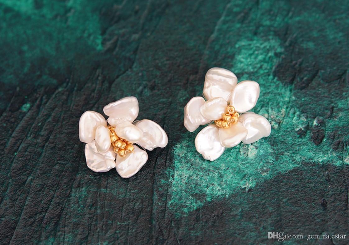 Natural Freshwater Pearl YiJia Earrings Temperament Retro Flower Petal Earrings Super Fairy Earrings Clip Spring And Summer New Style