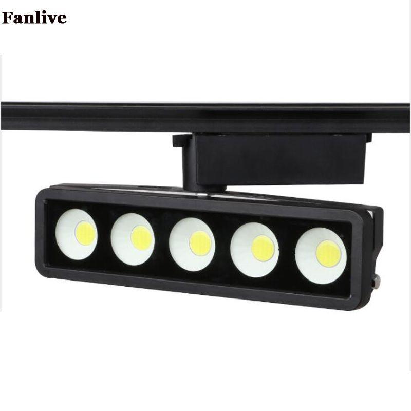 Fanlive 10 ADET Yüksek Güç COB Parça Aydınlatma 50 w Led Lamba Modern Spot Parça Raylı Işık AC220V
