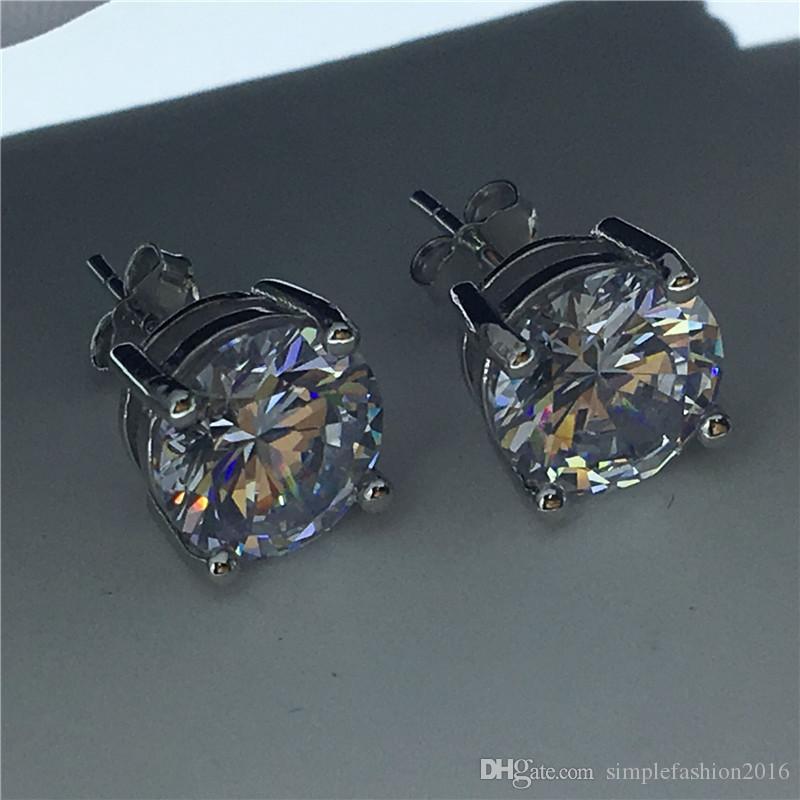 Tennis Earring 925 Sterling silver Diamond Cz Engagement wedding Stud Earrings for women men Party Gift