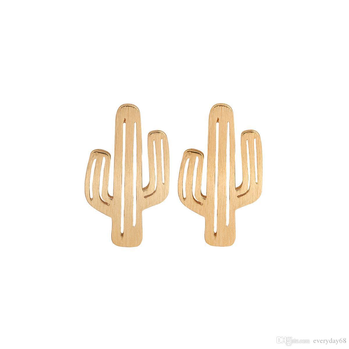 Minimalist höhlt Kaktus Ohrstecker für Frauen einzigartige Design-Legierung Rose Gold-Silber-Vergoldung verziert Ohrringe neue Mode-Schmuck