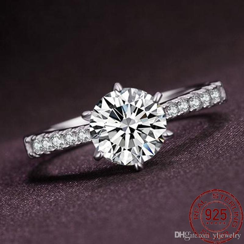 New Trendy Crystal Engagement Design Hot Sale Rings For Women 925 Sterling Silver Rings Female Wedding Bridal Jewelry Gift XR051