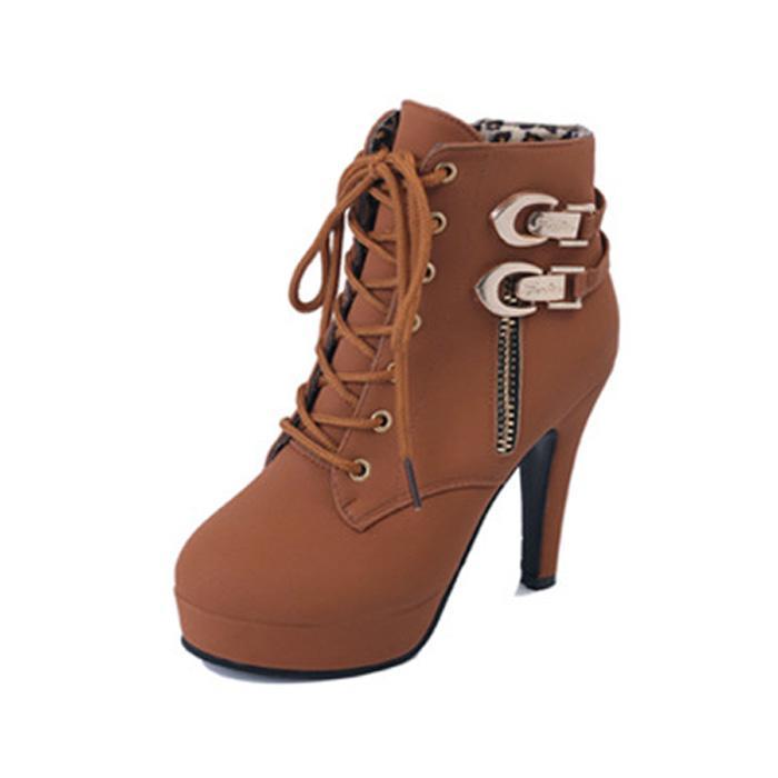 Hot Sale-botas de salto alto feminino com plataforma waterproof botas de zíper lateral atam grandes botas de tamanho. XZ-066