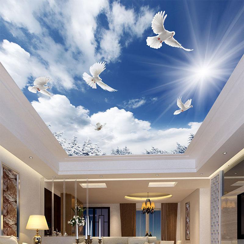 Bleu ciel et les nuages White Pigeon Ceiling Mural Wallpaper Salon Hôtel à thème Chambre Backdrop Décoration murale Plafond 3D Frescoes