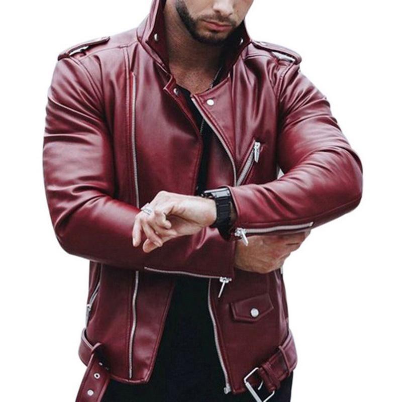 Herren Leder Herbst Winter Casual Reißverschluss PU Lederjacke Rot Schwarz Plus Größe Motorrad Faux Jacke Männer Slim Fit Streetwear