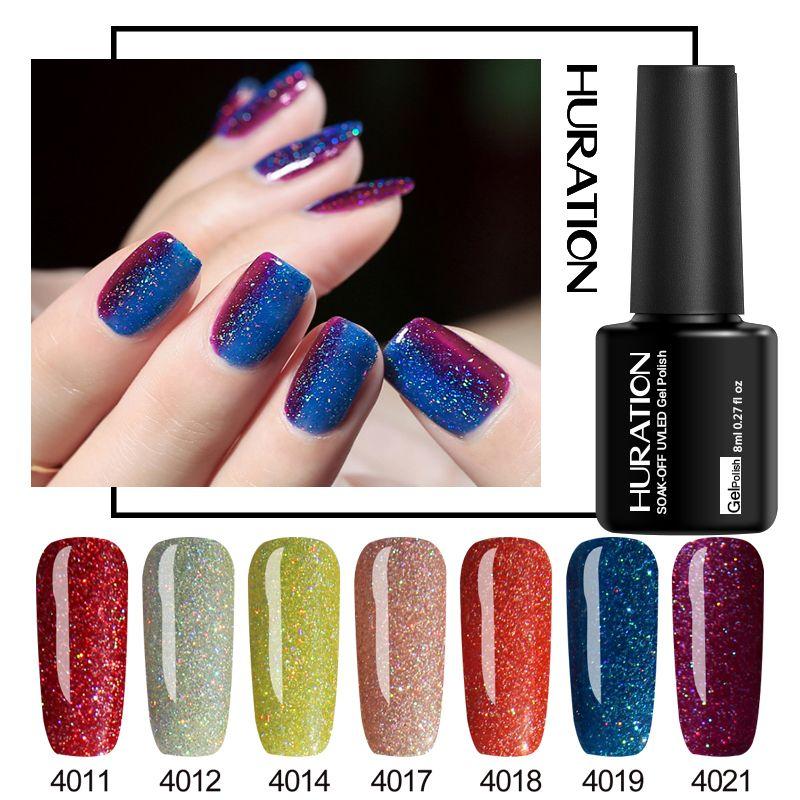 Huration Super Bling Neon Glitter unhas de gel polonês UV Soak Off Longa Duração Brasão Professional Gel laca UV LED Verniz base Topo