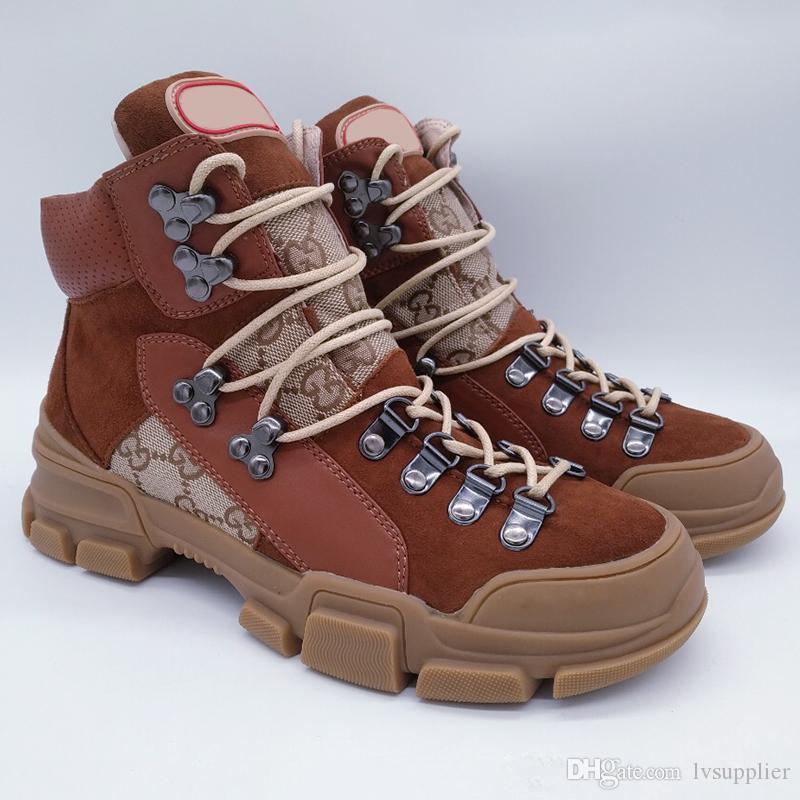 Brown Flashtrek High-top Sneaker para hombre Botines de tobillo Senderismo Botas de escalada para mujer Zapatos de diseño grueso antideslizantes Martin botas zapatillas de deporte tamaño11