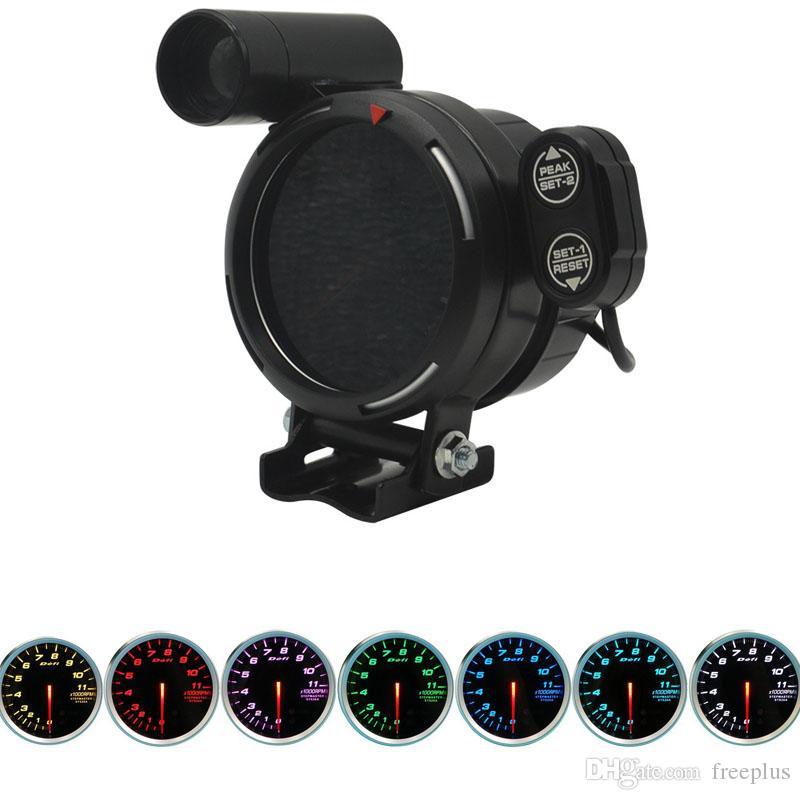 Defi 3.75 pulgadas 7 colores 0-11000 RPM Medidor de tacómetro Medidor de RPM Motor paso a paso con luz de cambio de automóvil para Auto C