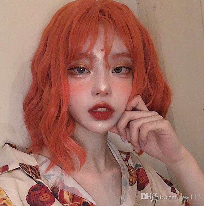 bangs europeus e americanos Harajuku Qi peruca feminina cabelo encaracolado net rua tiro vermelho maquiagem pêra cabelo da flor irmã cabelo médio laranja lo curta