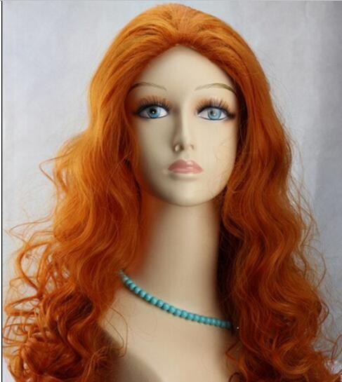 LIVRAISON GRATUITE + + Nouveau Fas hion orange perruque longue ondulée cheveux bouclés femmes Cosplay complet perruques