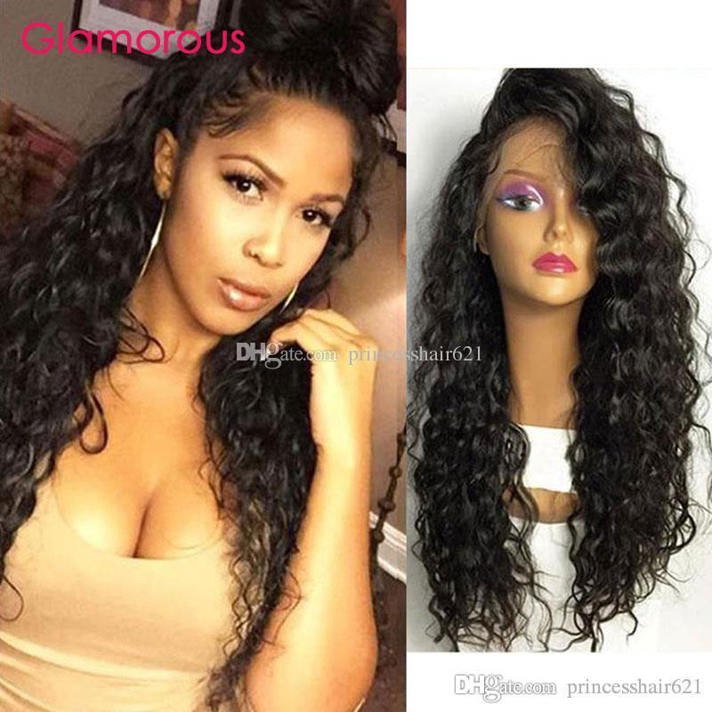 매력적인 깊은 물결 레이스 가발 아기 머리와 페루 말레이시아 브라질 인간의 머리카락 흑인 여성을위한 딱지없는 레이스 프런트 가발