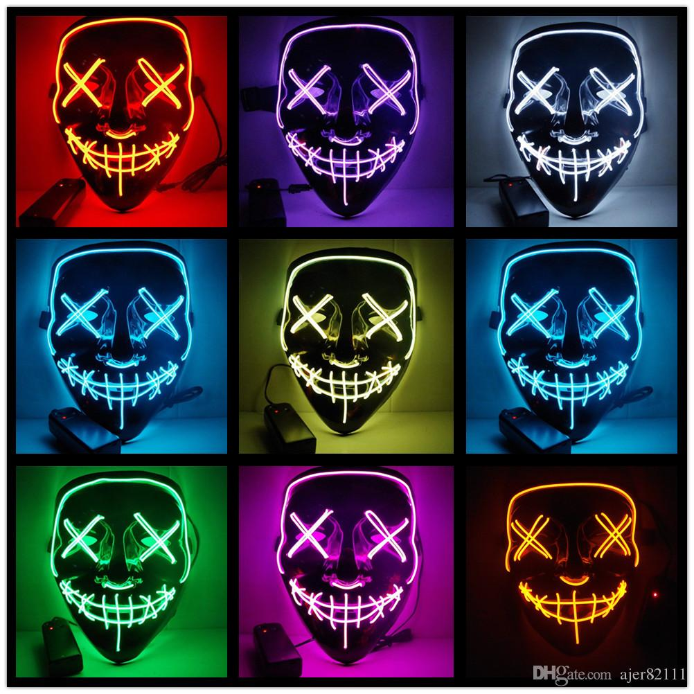 Новый LED Light up Маска Хэллоуин маска костюм партии косплей Гай Фокс V для вендетты анонимных взрослых украшения партии EL провода светящиеся маски
