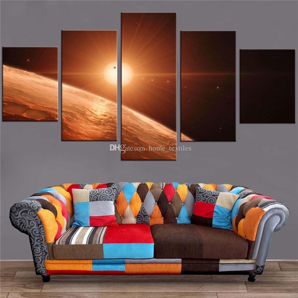 5 панелей психоделических планет Земли художественная рамка HD печатает на холсте настенная живопись маслом настенный декор с ДЛЯ ДЕТСКОЙ КОМНАТЫ