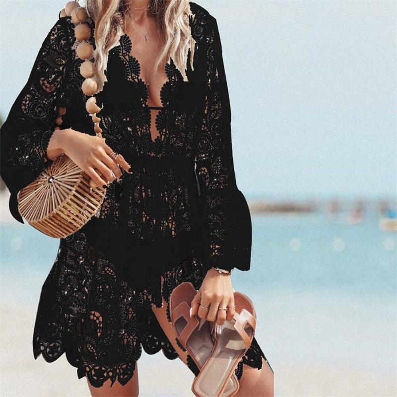 2020 Nova Mulheres Verão Bikini Cobertura Floral Lace Hollow Crochet Swimsuit Cover-Ups Banheira Terno Beachwear Túnica Vestido de Praia Quente