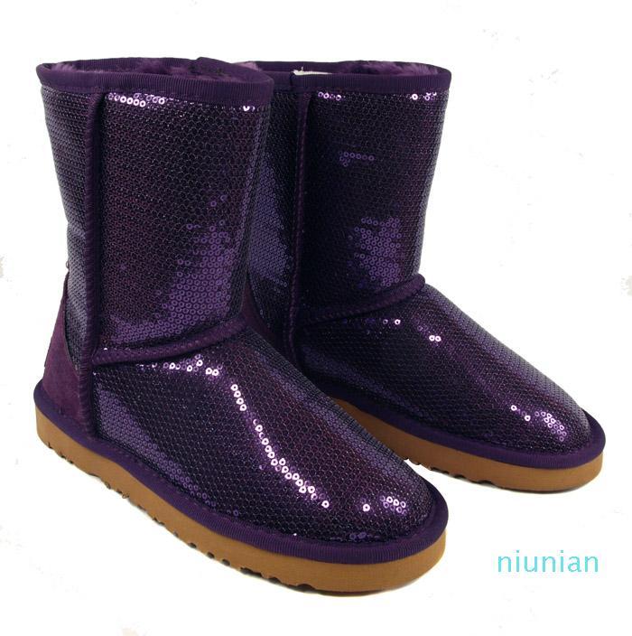 Hot Sale-nuove donne di modo di scintillio paillettes racchette da neve stivali invernali Nero Blu 6colors viola d'argento dorata scelgono