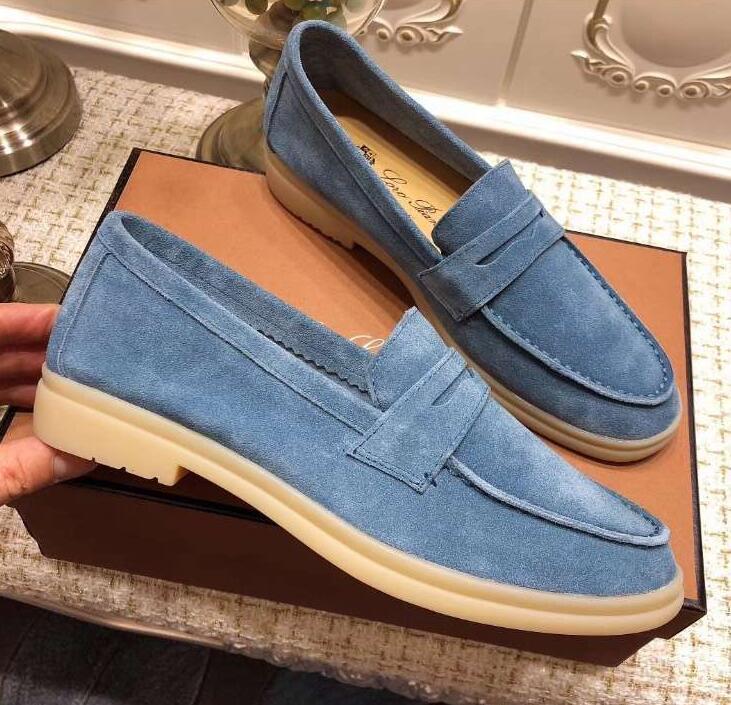 Новый дизайнер мужской Лоро ходьбы обувь роскошные кроссовки замша нубук кожа мужчины квартиры скольжение-на платье обувь плюс Размер 45 46